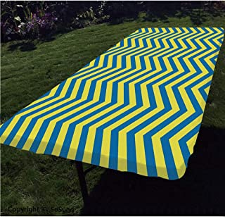 Yellow and Blue Polyester Fitted Tablecloth,Classical Chevron Pattern Horizontal Zigzag Lines Geometric Old Fashioned Decorative Rectangular Elastic Edge Fitted Table Cover,Fits Rectangular Tables 48x