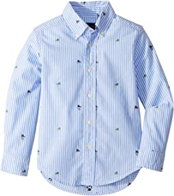 Striped Stretch Cotton Shirt (Little Kids/Big Kids)