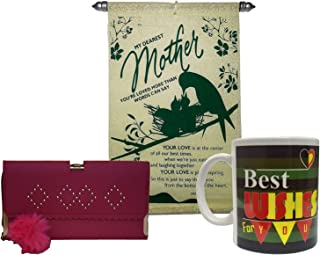 Saugat Traders Mother Gift | Women Wallet, Mother Scroll Card & Coffee Mug-Mother's Day Gifts