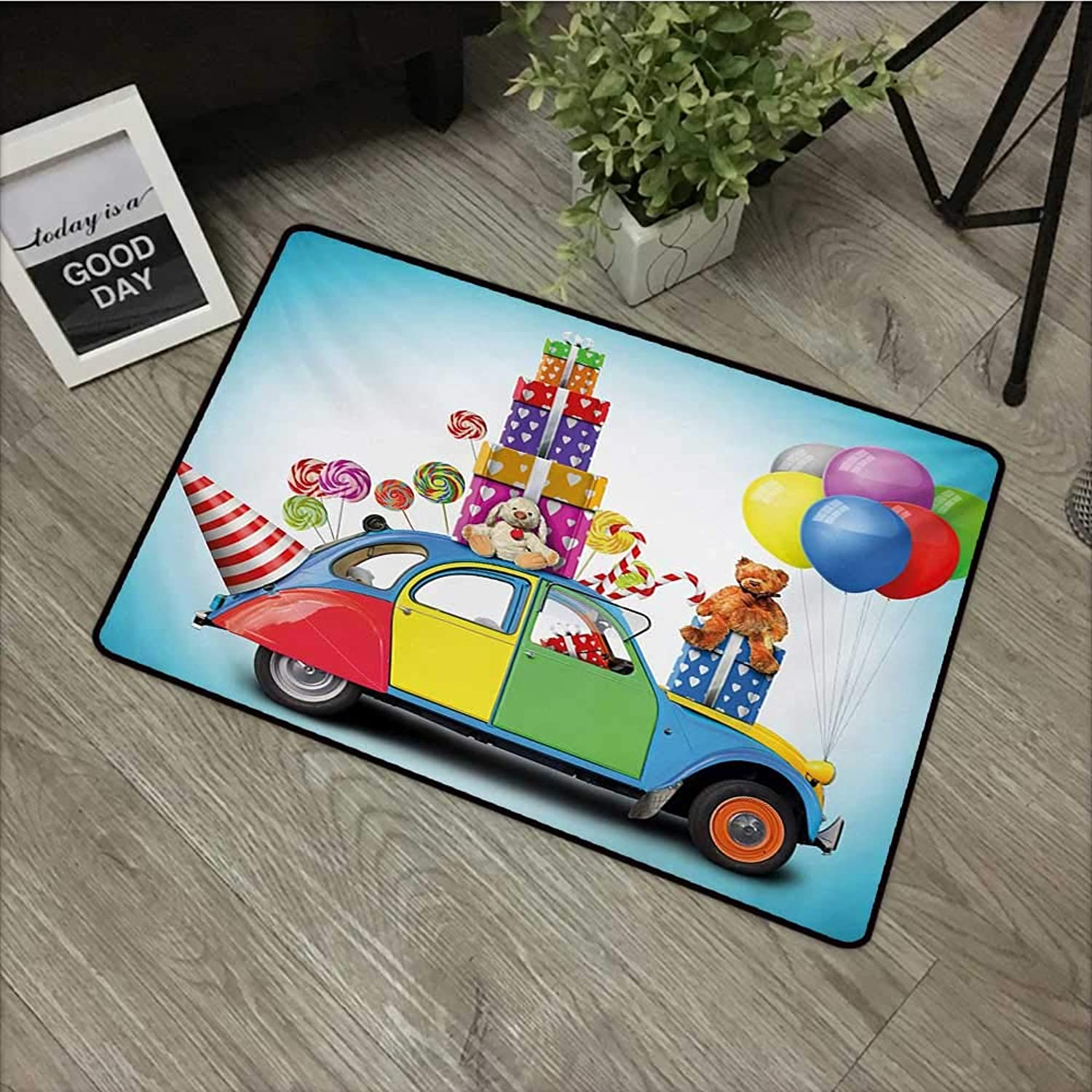 Pool Anti-Slip Door mat W35 x L59 INCH Birthday,colorful Car with Presents Toys Holiday Lollipops Party Hat Balloons Celebration,Multicolor Non-Slip, with Non-Slip Backing,Non-Slip Door Mat Carpet