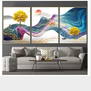 3 Pieces Of Minimalist Modern Style Personality Sunset Ship Deer Pattern Crystal Porcelain Painting Mural Decoration Paint...