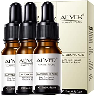 3 pcs Zero Pore Instant Perfection Serum, Lactobionic Acid Essence, Anti-Aging Wrinkle Skin Facial Essence Oil, Nourishing...