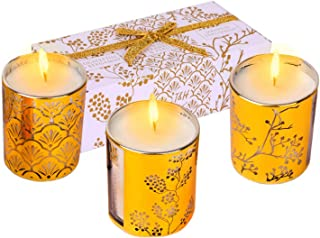 Aromatherapy Candles Gift Set | Gold Glass Candle Gift Sets for Women Relaxation | Highly Scented Soy Candles Gift Box | P...