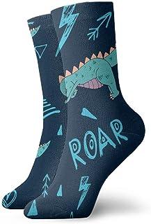 Calcetines de vestir estampados para hombre y mujer Dinosaur Yoga Calcetines coloridos divertidos y novedosos Crazy Crew 30 cm