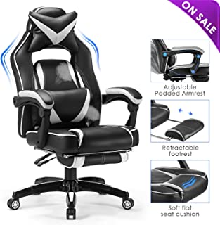 Kealive Reclining Gaming Chair Big and Tall 400lbs, Memory Foam Adjustable Back Breathable PU Leather Racing Ergonomic Executive Computer Office Chair with Retractable Footrest and Headrest