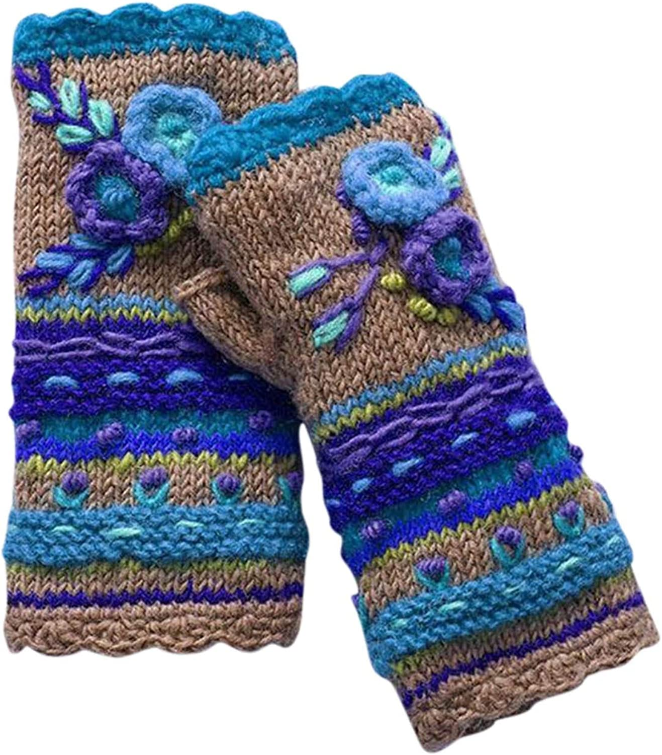 Vintage Multicolor Knitted Gloves with Floral Fingerless Gloves Knit Gloves for Girls Women Warm Hand Warmers
