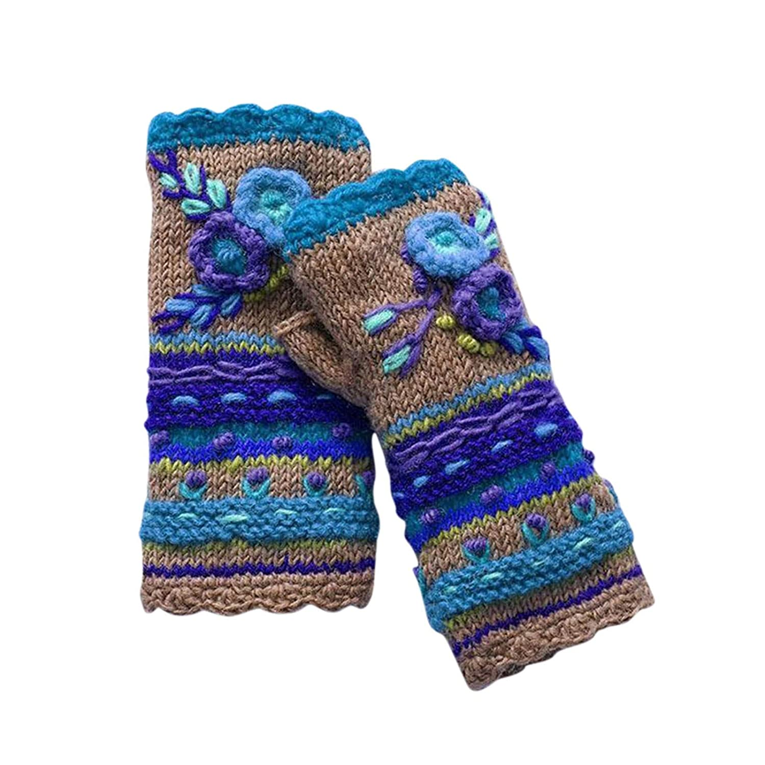 【USA In Stock】Hand Knit Fingerless Embroidered Flower Winter Wool Texting Gloves Mittens Warm Fleece Lined