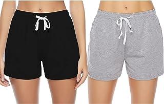Sykooria Pantaloncini Donna Estivi 100% Cotone Shorts Sportivi a Vita Alta Morbido Tinta Unita e a Righe Pantaloni di Pigi...
