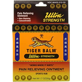 Tiger Balm Pain Relieving Ointment, Sports Ultra, 50g – Professional Size – Sports Rub Ultra Strength – Knee Inflammation Relief – Relief for Hand Arthritis – Tiger Balm Ultra