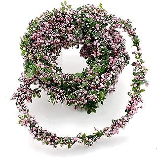 TGG Buchs- Beeren Girlande Draht, 2,7 Meter Kordel, Hochzeit, Kommunion !!! grün/rosa