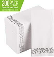 [200 Pack] Disposable Guest Towels Soft and Absorbent Linen-Feel Paper Hand Towels Durable Decorative Bathroom Hand Napkins for Kitchen,Parties,Weddings,Dinners or Events,White and Silver