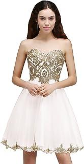c9e6cbc0f18d MisShow Women's Lace Applique Strapless Short Mini Cocktail Homecoming  Dresses