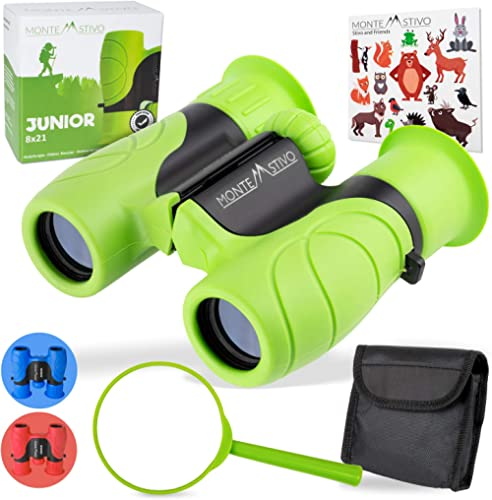 Monte Stivo Junior | Food-Grade Kids Binoculars 8X21 | Light & Compact Children Gift Set for Young discoverers Aged 4...