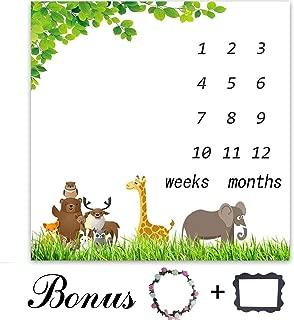 Green Leaves Blanket   Baby Milestone Blanket   40