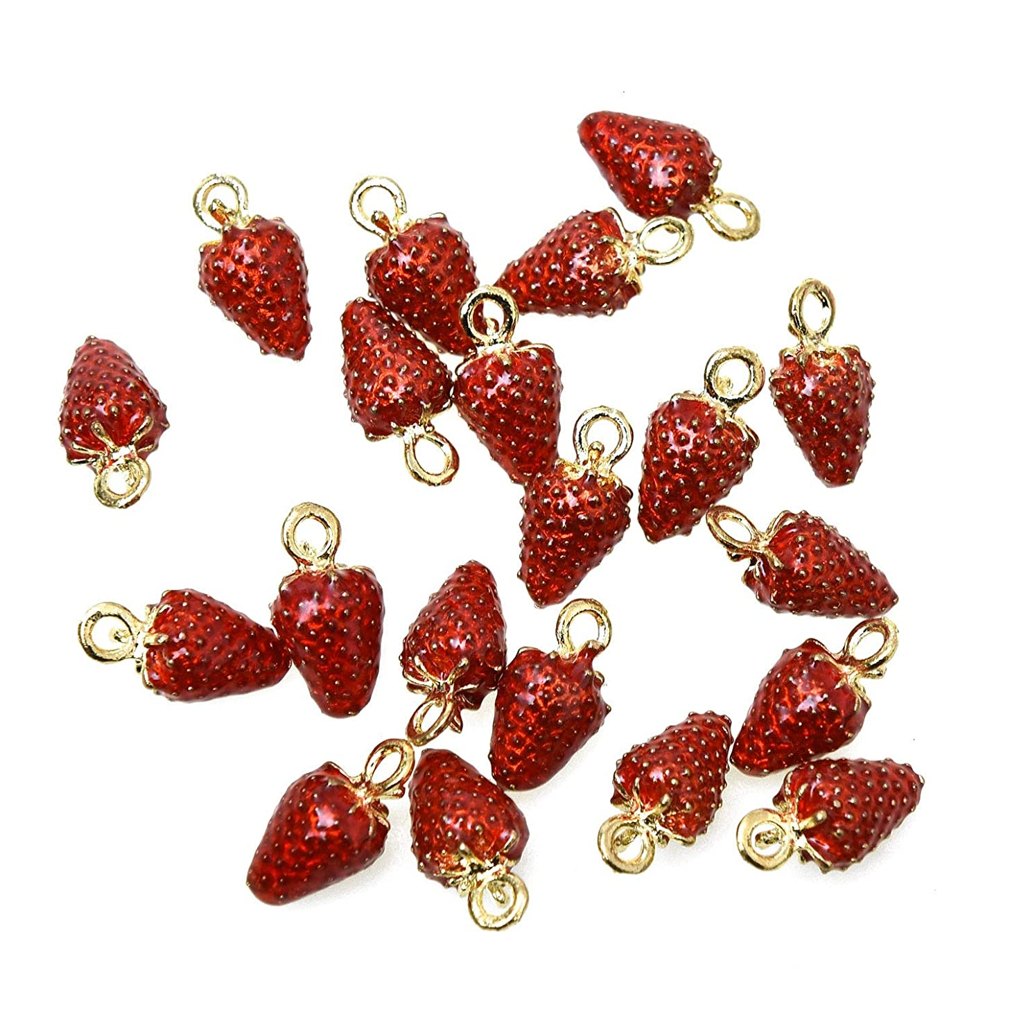 Monrocco 15Pcs Enamel Strawberry Charms Pendants Alloy Fruit Charms for Making Necklace Bracelet Earrings