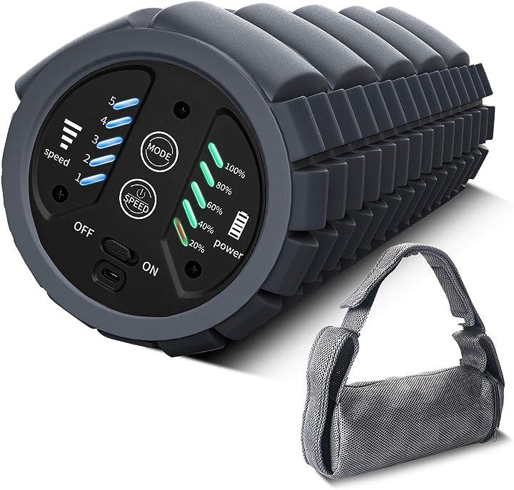 Rullo in schiuma vibrante a 5 velocità per recupero muscolare, 16 – 65 hz, per rilassare i muscoli kingfit LY-YOGA-01
