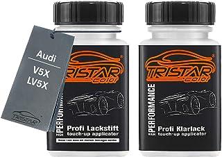 TRISTARcolor Autolack Lackstift Set für Audi V5X / LV5X Tritonblau Metallic Basislack Klarlack je 50ml