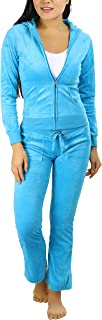 ToBeInStyle Women's Velour Tracksuit Zip-up Hooded Jacket and Matching Pants