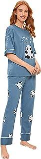 Shein Women's Elephant Cartoon Print Top and Flower Print Pants Pajama Set