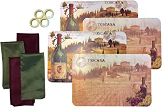 Set of 4 Decorative 2-Sided Tuscan Wine Country Table Placemats with 2 Burgundy Linen Napkins, 2 Forest Green Linen Napkins and 4 Napkin Rings