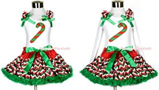 Xmas Candy Cane White Tank Top Red White Green Wave Stripe Girl Pettiskirt 1-8Y