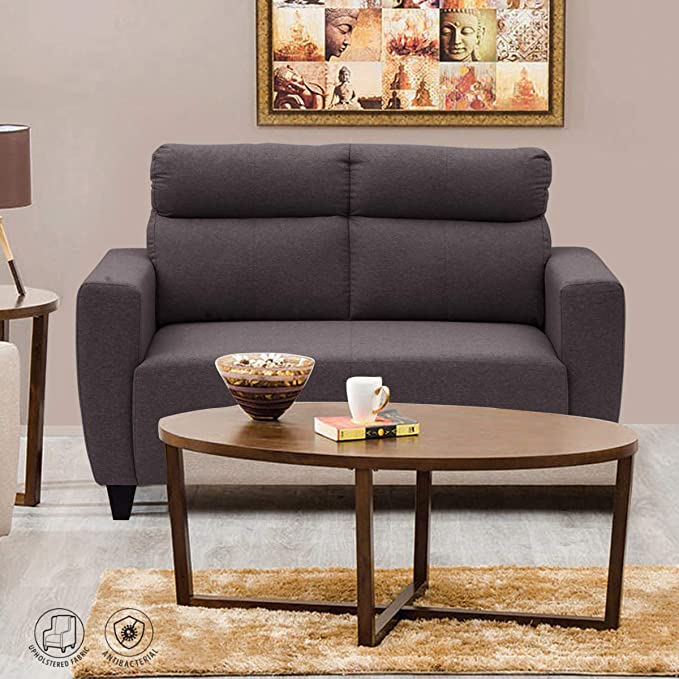 Home Centre Emily Polyester Fabric Sectional Sofa  2 Seater, Brown