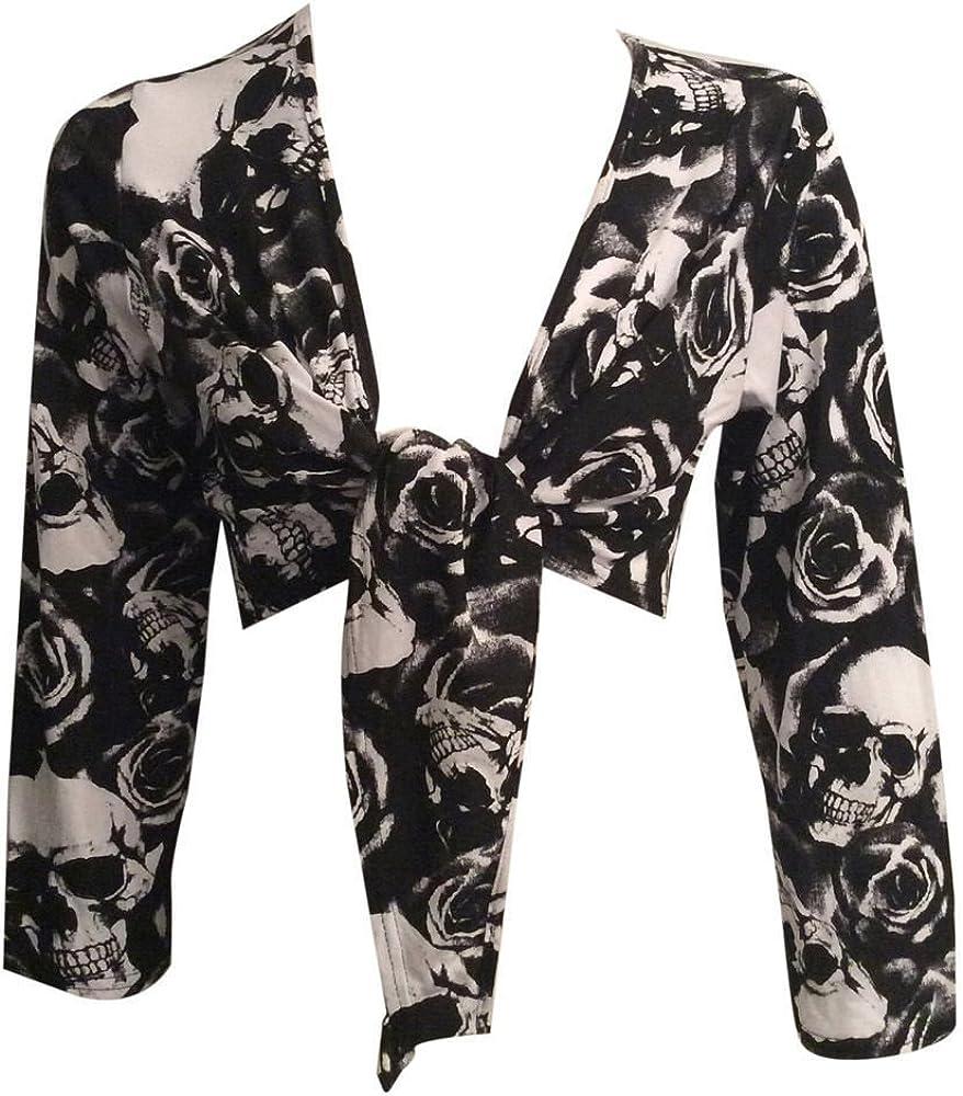 RZN Fashion Womens New Ladies Long Sleeve Tie Up Front Cropped Bolero Cardigan Top Shrug (SM to XXL)