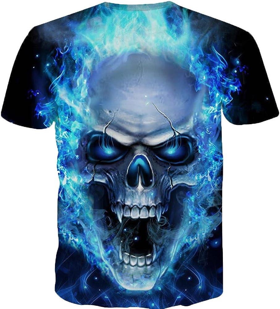 Overdose Camiseta para Hombre Manga Corta Verano Polo Camisas Casual T-Shirt 3D Cráneo Top Calidad Verano Camisa Manga Corta Hip Hop Cuello