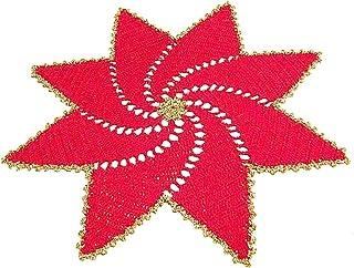 Centrino stella rosso e oro per Natale in filato di cotone all'uncinetto - Dimensioni: ø 36 cm - Handmade - ITALY