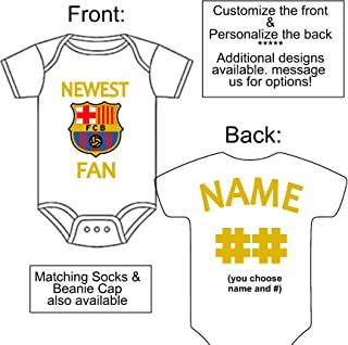 Personalized Custom Made Newest Barcelona FCB Football Club Soccer Fan Gerber Onesie Jersey - Baby Announcement Reveal or Shower Gift
