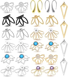 15 Pairs Ear Jacket Stud Lotus Flower Earrings for Women and Girls Set for Sansitive Ears Simple Chic Jewelry
