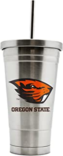 NCAA Oregon State Beavers 17oz Double Wall Stainless Steel Thermo Tumbler with Straw