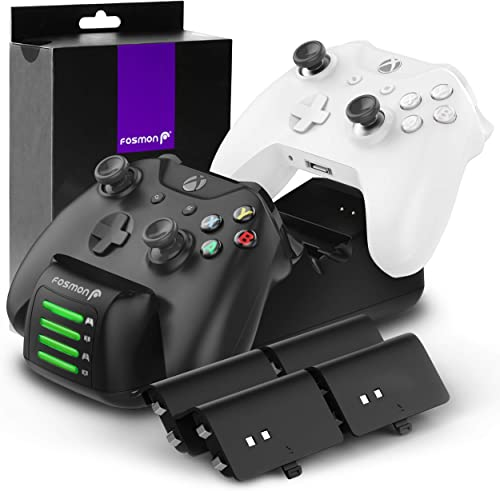 Fosmon Quad PRO Controller Charger Compatible with Xbox One/One X/One S Elite Controllers (Upgraded), Dual Dock + 2 B...