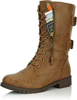 f299e4b3a DailyShoes Women s Ankle Bootie High Lace up Military Combat Mid Calf  Credit Card Knife Money Wallet