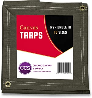 CCS CHICAGO CANVAS & SUPPLY Canvas Tarpaulin, Olive Drab, 8 by 10 feet (Available in 10 More Sizes)