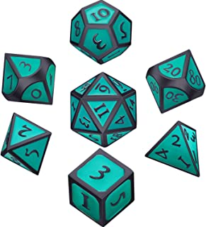 Hestya 7 Pieces Metal Dices Set DND Game Polyhedral Solid Metal D&D Dice Set with Storage Bag and Zinc Alloy with Enamel for Role Playing Game Dungeons and Dragons (Black Edge Turquoise)