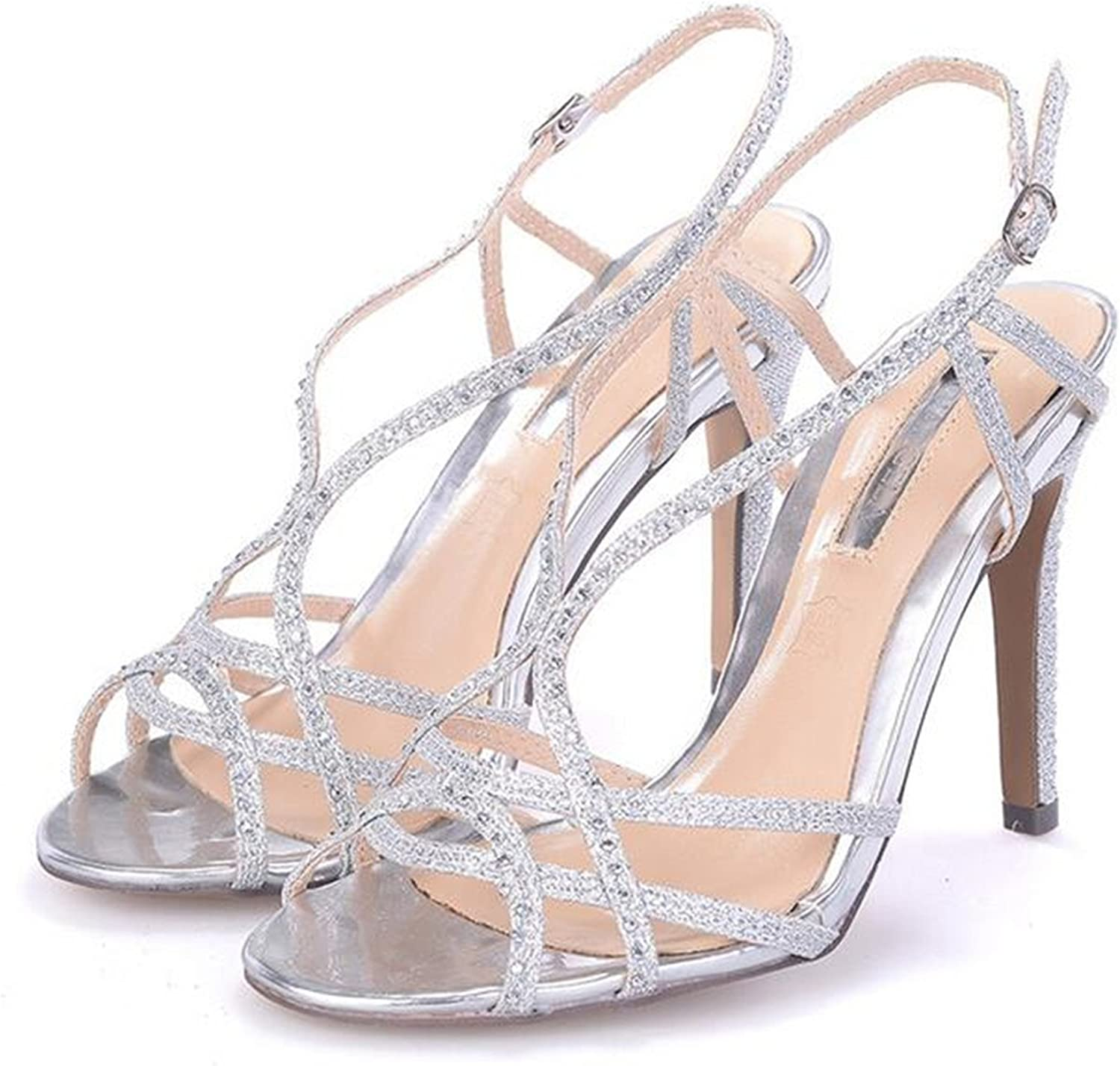 Robert Westbrook shoes Woman Strappy High Heel Sandals Women Ankle Strap Sandals gold Sandals Sandalias Silver 10