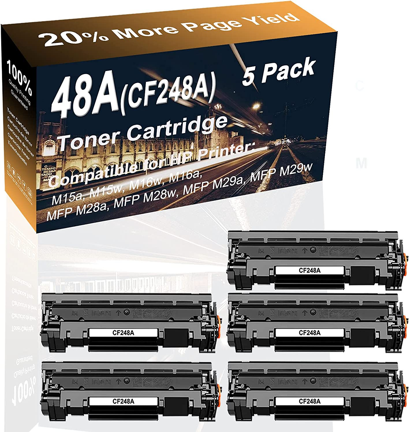5-Pack (Black) Compatible High Yield 48A (CF248A) Printer Toner Cartridge use for HP MFP M29a, MFP M29w Printer