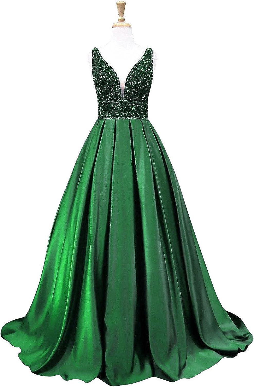 Ellystar Women's V Neck Satin Beading Sleeveless with Zipper ALine Prom Dresses