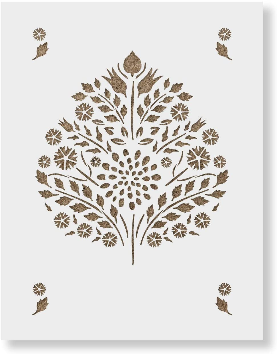 Super popular specialty store Leaf Damask Pattern Wall Stencil Limited time sale - Durable Laser Reusable Cut