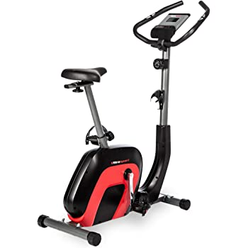 Ultrasport Racer 2000 Exercise Bike Ergometer for health and fitness with Bluetooth-compatible touch display, 8 adjustable resistance levels, adjustable saddle and handlebars, black red