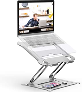 Adjustable Laptop Stand,Aluminum Computer Riser Multi-Angle Stand with Heat-Vent Portable Foldable Desktop Laptop Stand Compatible with 10 to 17 Inch PC Notebook Tablets