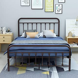 AUFANK Metal Bed Frame Full Size Victorian Vintage Style Headboard and Footboard No Box Spring Heavy Duty Steel Slat Mattress Foundation Bronze