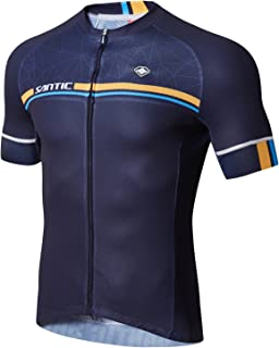 Santic Cycling Jerseys Men's Short Sleeve Bike Shirts Full Zip Bicycle Jacket with Pockets Navy L