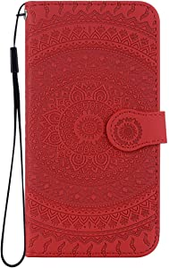 Reevermap Huawei Mate Pro Case Leather  Protective Wallet Flip Embossed Mandala Premium Kickstand Magnetic Buckle Notebook Cover for Huawei Mate Pro  Red