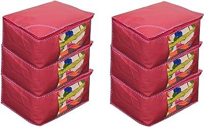 JaipurCrafts 6 Pieces Non Woven Saree Cover Set, Pink (45 x 35 x 22 cm)