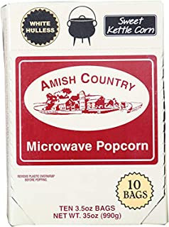 Amish Country Popcorn - 10 Bags Sweet Kettle Corn Microwave Popcorn - White Hulless Old Fashioned Microwave Popcorn - Gluten Free, and Non GMO - Recipe Guide