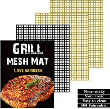 Grill mat Set of 3 - Non Stick BBQ Grill mesh mats,Reusable,Easy to Clean,Suitable for Charcoal Electrical and Gas Grilling.Extended Warranty