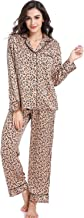 Serenedelicacy Women's Silky Satin Pajamas, Button Up Long Sleeve PJ Set Sleepwear Loungewear