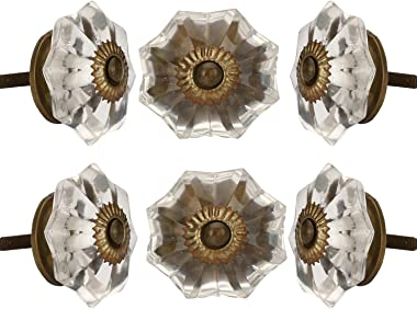 Set of 6 Crystal Glass Knobs Kitchen Cabinet Cupboard Glass Door Knobs Dresser Wardrobe and Drawer Pull by Perilla Home (Clea